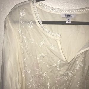 2X Cream Floral Embroidered Top Old Navy.